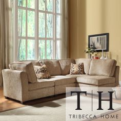 Tribecca Home Barnsley Collection Brown/ Beige Chenille 4-piece Sectional Set | Overstock.com Shopping - Big Discounts on Tribecca Home Sect...