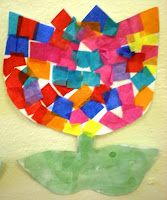 Toddler craft: Tissue Paper Tulips