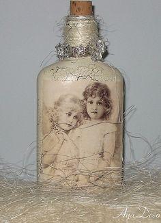 Decoupage Christmas Bottle