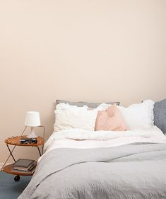 Peach Gray Bedroom. Simple yet beautiful.