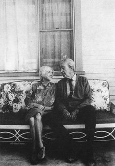 Bette Davis and James Stewart on the set of Right of Way, 1983.