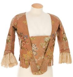 IMATEX. floral silk jacket and matching stomacher. buttons on front for cross-lacing. lace cuffs. 18th c.