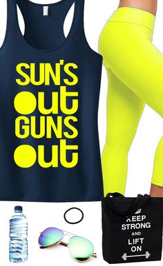 Perfect Workout tank top for Summer! Featuring a SUN'S OUT GUNS Out Racerback Tank Top. Great for the Gym or Crossfit. By NobullWomanApparel, $24.99 on Etsy. Click here to buy https://www.etsy.com/listing/189409328/suns-out-guns-out-tank-racerback-workout?ref=shop_home_active_14