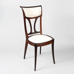 "Eugéne Gaillard - Side Chair.Carved Mahogany with Silk Upholstery. Circa 1900. 37"" x 15"" x 16""."