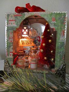 lucki, holiday, christma shadowbox, craft, alter art
