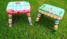 Custom Painted Foot Stool For Boys or Girls Nursery by elliesshop
