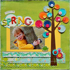 galleri, tree, button, scrapbook idea, disney scrapbook layouts, baby scrapbook, picture frames, scrapbook pages, bright colors