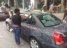 NY Artist Covers Car With Blackboard Paint