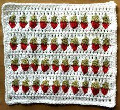 free pattern, crochet stitch, strawberries, crochet blanket, dishcloth pattern, 62 strawberri, crochet patterns, row dishcloth, strawberry pattern crochet