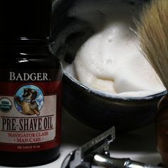 Starting the week proper with a fabulous Badger #wetshave. Pictured: Badger Pre-Shave Oil and Shave Soap, trusty #Merkur #DE safety razor, and #VieLong Horse Hair #shaving brush. Ready to take on the world!