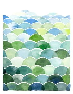 Handmade Watercolor Abstract Blue and Green Field and Sky Painting- 8x10 Wall Art Watercolor Print.