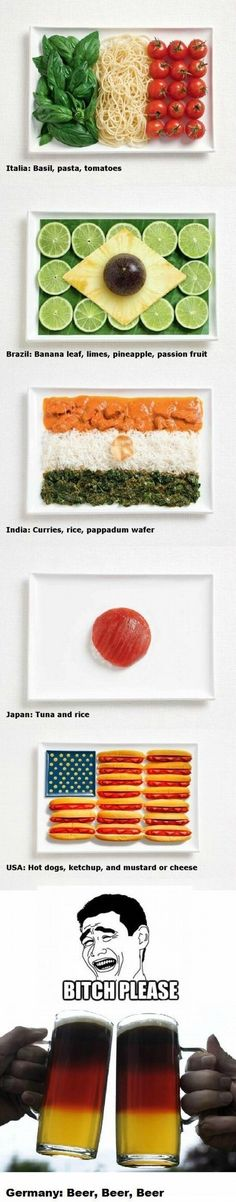 country's flag made of their food