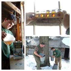 Coming to your pancakes soon...Vermont Maple Syrup.  Wright Family Farm~Randolph, VT #vermont #maplesyrup #winter #cabotfarmers