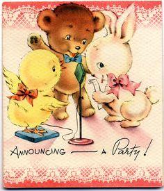 greet card, announcinga parti, parties, vintag card, party invitations, baba vintag, vintag greet, vintage greeting cards, vintage cards
