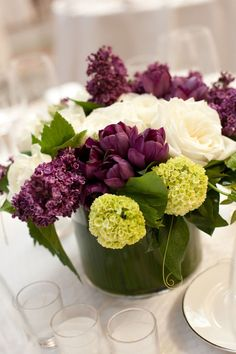 purple and green reception wedding flowers,  wedding decor, wedding flower centerpiece, wedding flower arrangement, add pic source on comment and we will update it. www.myfloweraffair.com can create this beautiful wedding flower look.