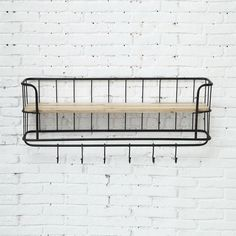 This shelving unit is the perfect marriage of metal and wood.