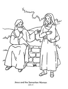 Lesson 15 Woman at the Well:  John 4 - color page of Jesus and the Samaritan woman