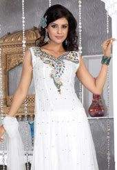 Off White Net Anarkali Churidar Kameez with Dupatta