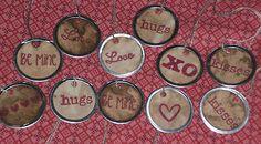 Valentine Love XO Primitive Metal Rim Hang Tags Gift Ties Ornies
