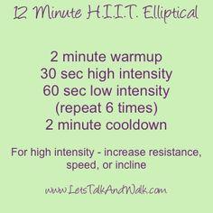 12 Minute HIIT Elliptical Workout