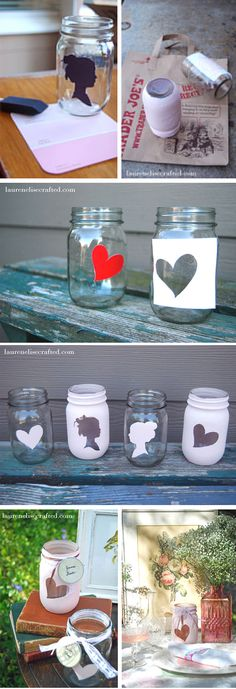 Mason jar DIY. cool to do where only the heart showed the candy (or whatever) inside the jar.
