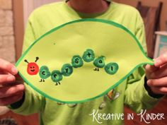 Name caterpillars: Students make paint dots for however many letters are in their name.  When the paint dries they use a black sharpie to write in the letters.