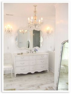 salon, floor, chandeliers, dresser, bathroom vanities, shabby chic bathrooms, white bathrooms, hall bath, french chic