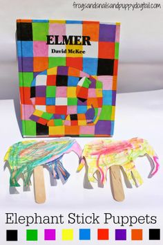 Elephant Stick Puppets  Inspired by Elmer