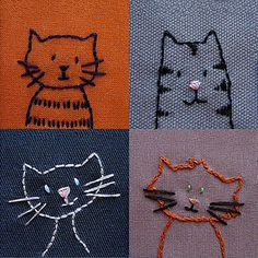 cat embroidery 4 times different--love these!