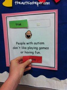True/False Autism Facts - great interactive activity!
