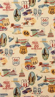 Route 66 fabric- bought it! made a scarf for the week and the rest is going to be a bag