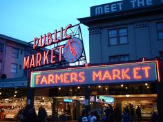 Pike's Fish Market downtown Seattle--we came here frequently!  If you could   dream it up, they sold it.  Diverse population.  All languages heard.  I loved Seattle--but my daughter was in NC