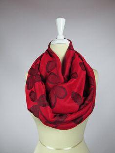 Crimson Red infinity scarf, pashmina circled  scarf,  silk scarf, Floral