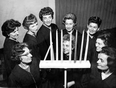 The lighting of a menorah for the Hanukkah celebration at Rodef Sholom Temple in Van Nuys, 1964. San Fernando Valley Historical Society. San Fernando Valley History Digital Library.