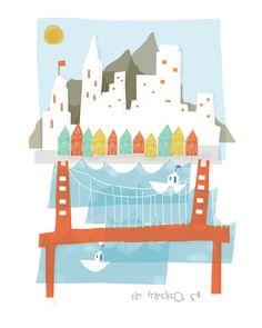 San Francisco art print illustration  8x10  city by confettielove, $14.00