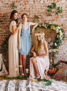 Bohemian pastel bridesmaid dresses