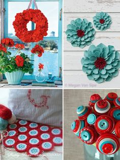 Red and Aqua crafts to add color to sewing room