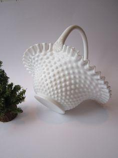 Vintage Fenton Milk Glass Hobnail Basket