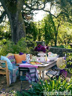 hous decor, garden retreat, color garden, anthropologie outdoor, decorating ideas, outdoor space, cottage decorating, cottage design, backyard