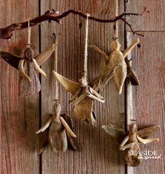 Driftwood Angel Ornament. Slim natural driftwood wings help our angel ornaments take flight.