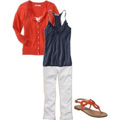 Okay....before you even look at the items in this outfit, I will tell you that they are sold out; however, the simplicity of of this chic little combo is so cute and so easy to put together. Navy and tangerine....we can find these colors easily kids! Tangerine is still Pantone's color of 2012, remember!