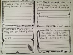 Art Exit cards or Take home discussion cards, or even if students finish early.