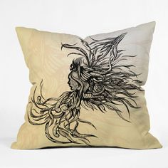Brandon Dover Untethered Throw Pillow #graphic #girl #woman