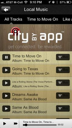 """CityByApp® Temecula! features """"Local Music"""" get the app free in the App Store. Search """"CityByApp"""" in the app stores"""
