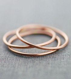Brushed Gold Stacking Ring Trio