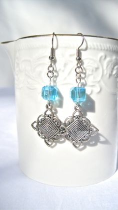 Silver And Blue Crystal Dangle Earrings Prom by MonasCreationsFL, $15.00