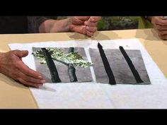 How to create and shade trees for landscape quilts using oil pastels and fabric.