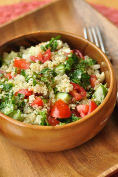 Tabouli made with quinoa - add some grilled chicken or throw it in a gluten free wrap for a yummy lunch or light dinner