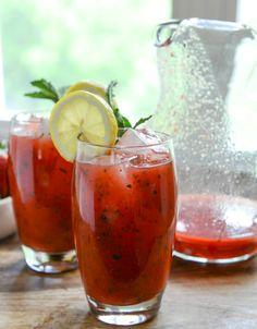 food, drink, cocktail, fresh mint, fresh strawberri, beverag, add vodka, strawberri mint, strawberry mint lemonade