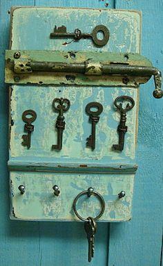 Key Holder Rack Sky Blue Skeleton Key With Vintage Hardware. $49.00, via Etsy.